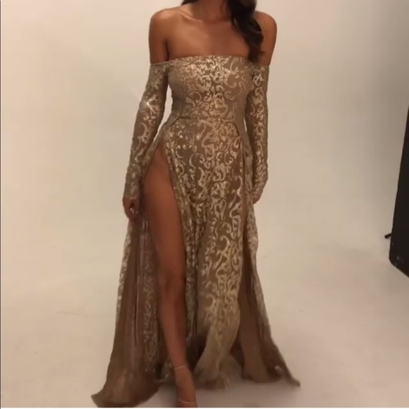 Flame Gold Glitter High Slit Dress 04556dcc9